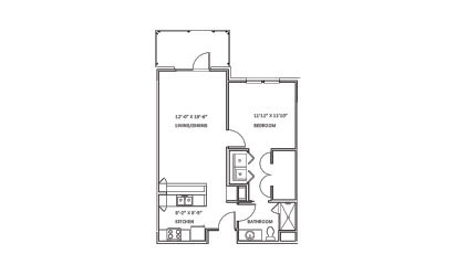 Creekwood A - 1 bedroom floorplan layout with 1 bath and 713 square feet