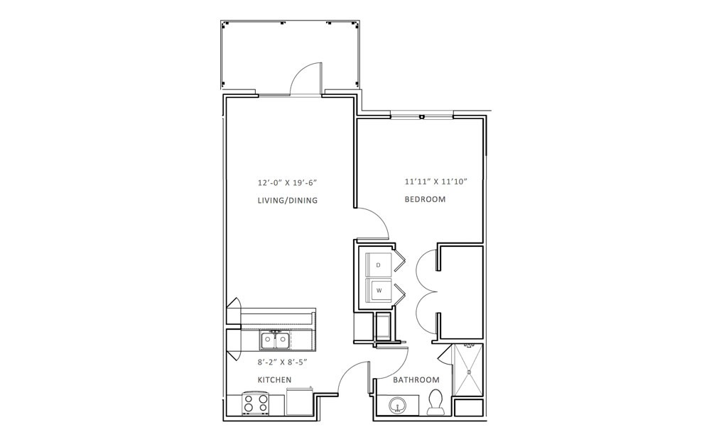 Creekwood A - 1 bedroom floorplan layout with 1 bath and 713 square feet (1st floor 2D)