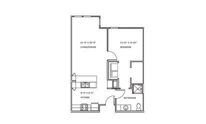 Creekwood B - 1 bedroom floorplan layout with 1 bath and 753 square feet
