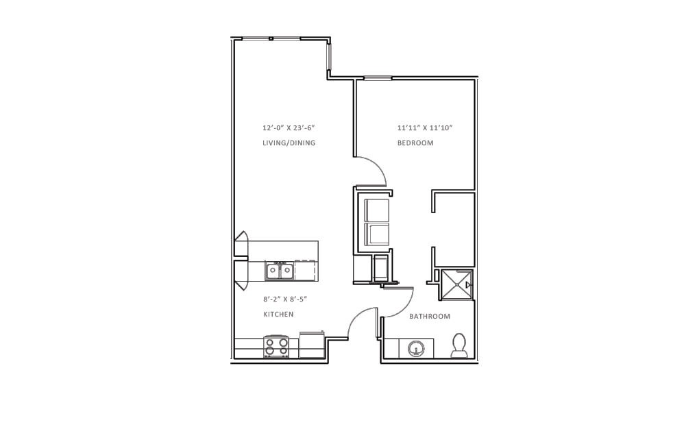 Creekwood B - 1 bedroom floorplan layout with 1 bath and 753 square feet (1st floor 2D)