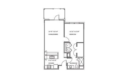 Creekwood C - 1 bedroom floorplan layout with 1 bath and 803 square feet