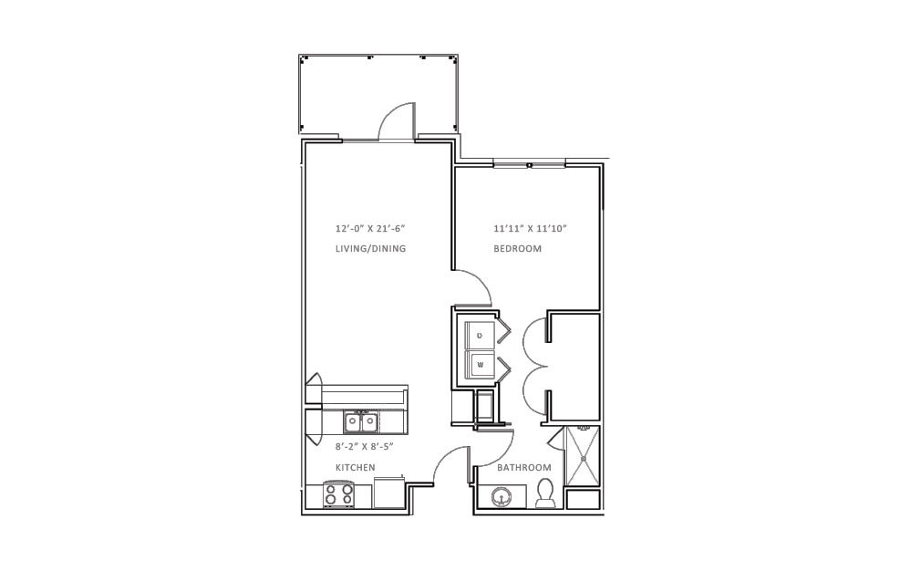 Creekwood C - 1 bedroom floorplan layout with 1 bath and 803 square feet (1st floor 2D)