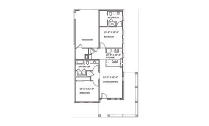 Greenbrook - 2 bedroom floorplan layout with 2 bath and 1101 square feet