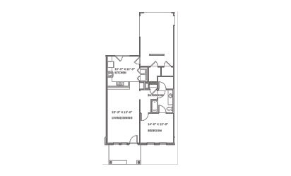 Greenway - 1 bedroom floorplan layout with 1 bath and 847 square feet