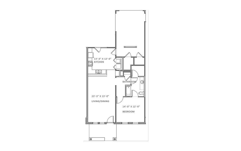 Greenway - 1 bedroom floorplan layout with 1 bath and 847 square feet (1st floor 2D)