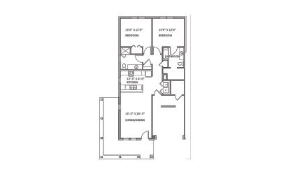 Pebble Beach - 2 bedroom floorplan layout with 2 bath and 1131 square feet