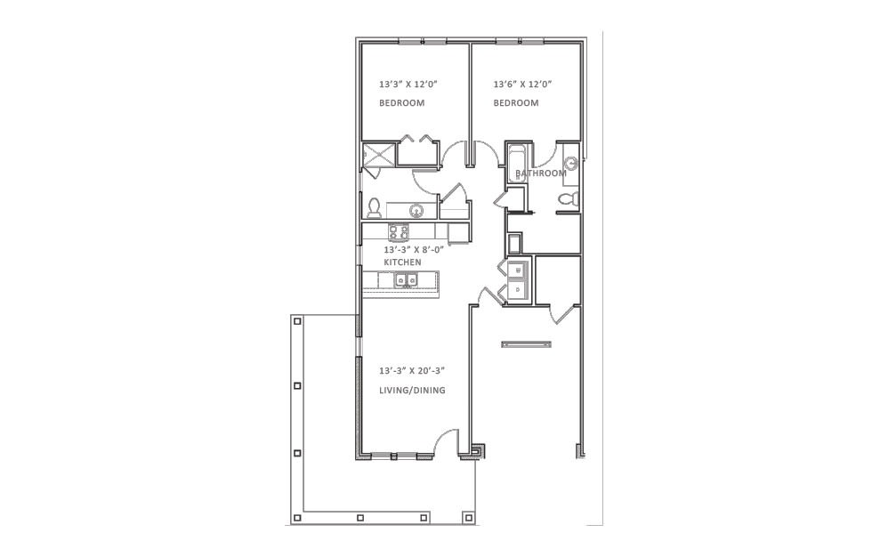 Pebble Beach - 2 bedroom floorplan layout with 2 bath and 1131 square feet (1st floor 2D)