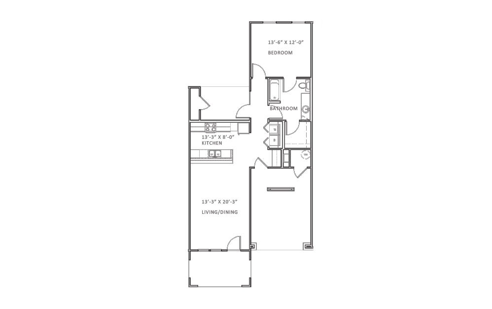 Pine Valley - 1 bedroom floorplan layout with 1 bath and 855 square feet (1st floor 2D)