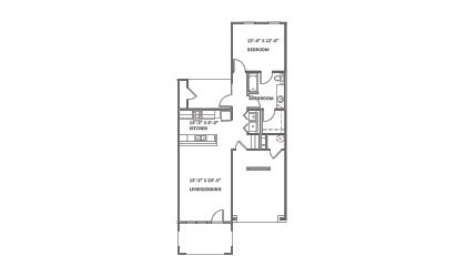 Pine Valley - 1 bedroom floorplan layout with 1 bath and 855 square feet