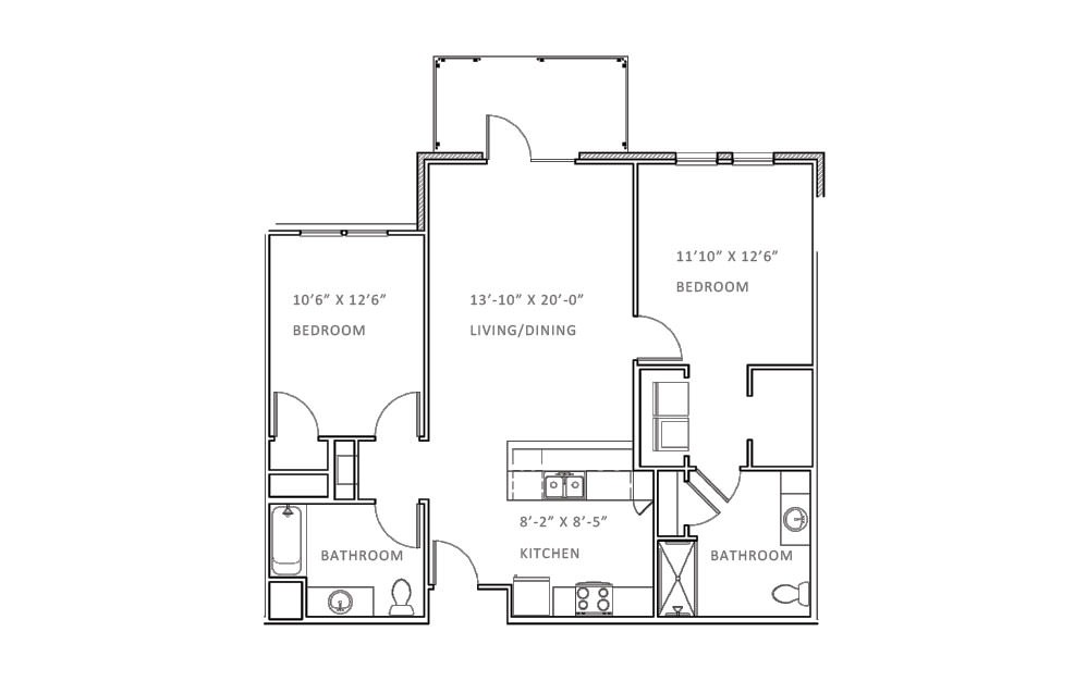 Valley Run - 2 bedroom floorplan layout with 2 bath and 1102 square feet (1st floor 2D)