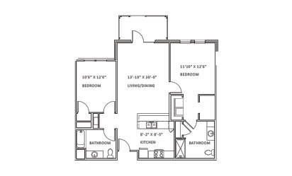 Valley Run - 2 bedroom floorplan layout with 2 bath and 1102 square feet